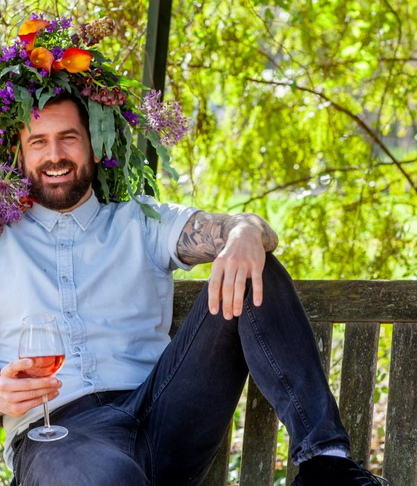 Michael Perry in a flower crown